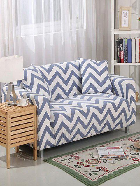 Zigzag Print Couch Cover - BLUE GRAY TWO SEATS