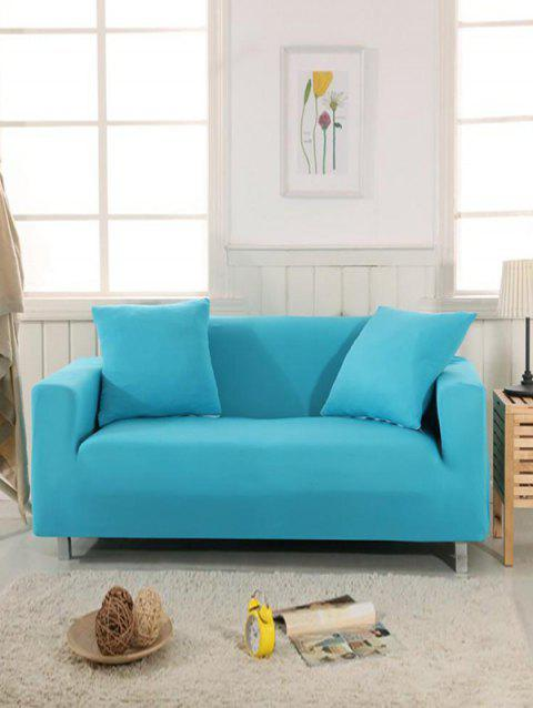 Simple Style Solid Color Couch Cover - SILK BLUE TWO SEATS