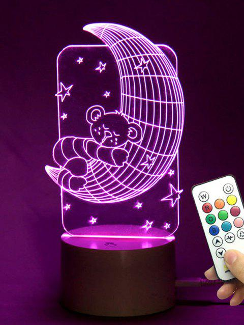 Bear Moon Shape Color Changing LED Night Light - TRANSPARENT