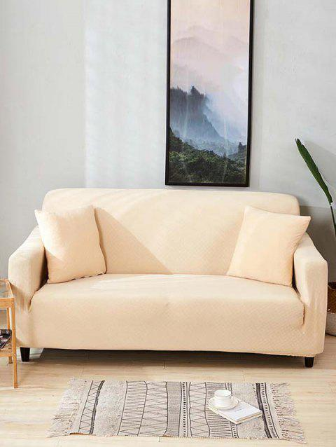 Solid Color Dark Pattern Couch Cover - WARM WHITE TWO SEATS