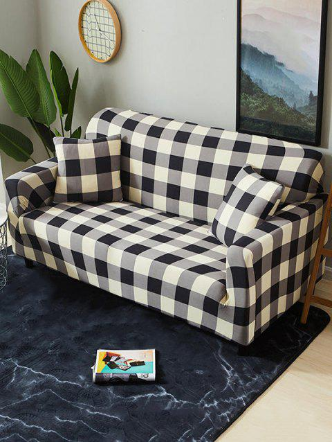 Plaid Print Stretch Couch Cover - GRAY TWO SEATS