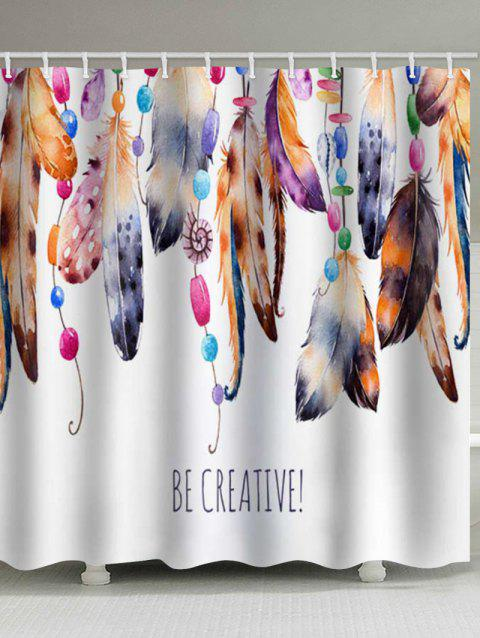 Beaded Feathers Print Waterproof Shower Curtain - multicolor W79 X L71 INCH
