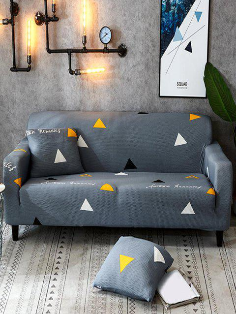 Triangle Print Stretch Couch Cover - MIST BLUE TWO SEATS
