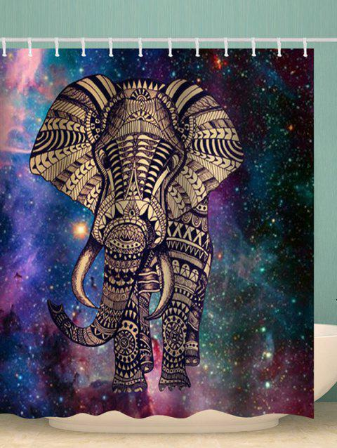 Galaxy Elephant Print Bohemian Shower Curtain - multicolor W71 X L71 INCH