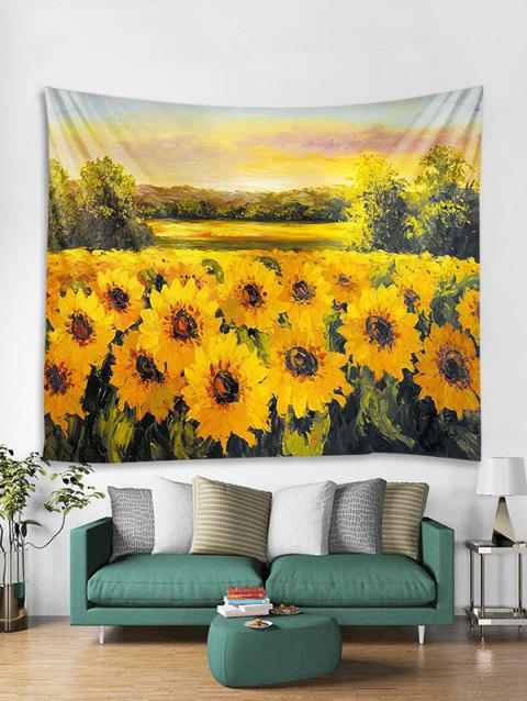 Oil Painting Sunflower Print Wall Tapestry - BRIGHT YELLOW W71 X L91 INCH
