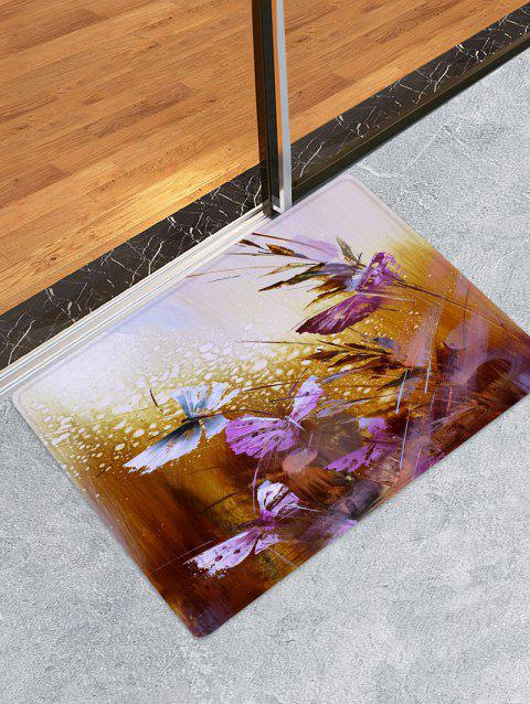 Abstract Butterfly Design Floor Mat - RED DIRT W24 X L35.5 INCH
