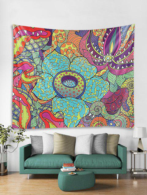 Abstract Floral Painting Wall Tapestry - multicolor W71 X L91 INCH