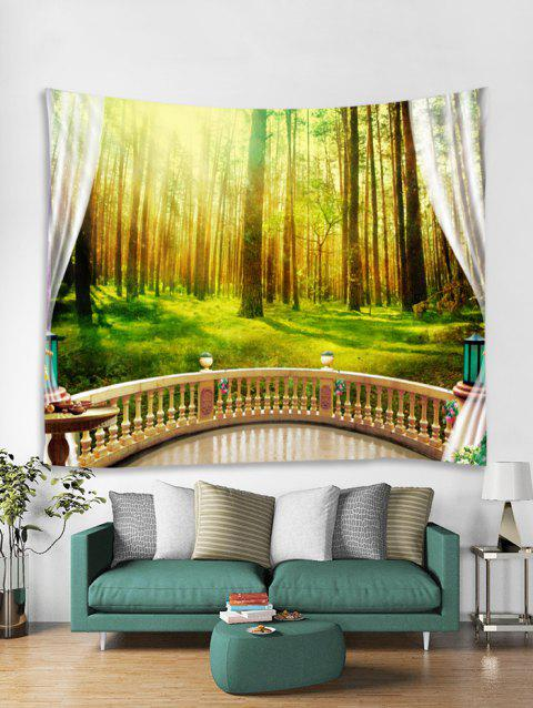 Sunshine Forest Print Art Decoration Wall Tapestry - SHAMROCK GREEN W59 X L51 INCH