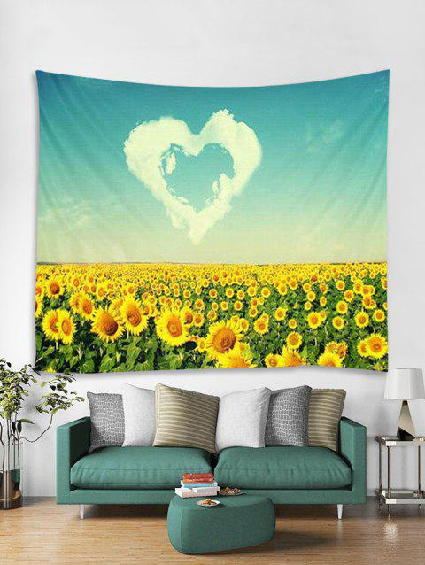 Sunflower Heart Print Wall Tapestry - multicolor W59 X L51 INCH
