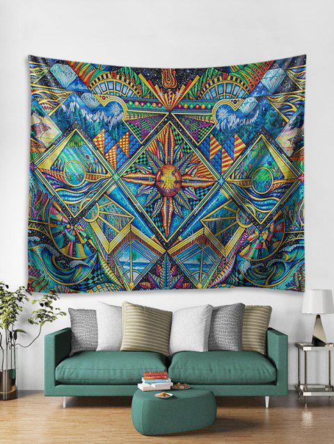 3D Abstract Pattern Print Wall Tapestry - multicolor W71 X L71 INCH