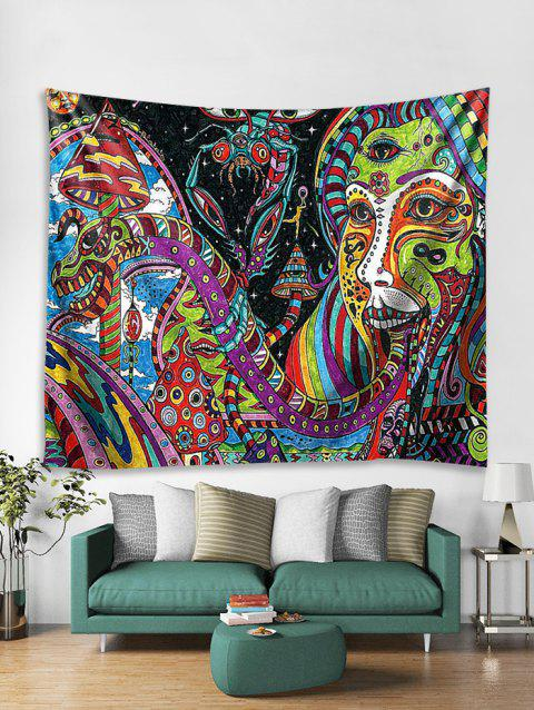 3D Abstract Face Pattern Wall Tapestry - multicolor W71 X L79 INCH