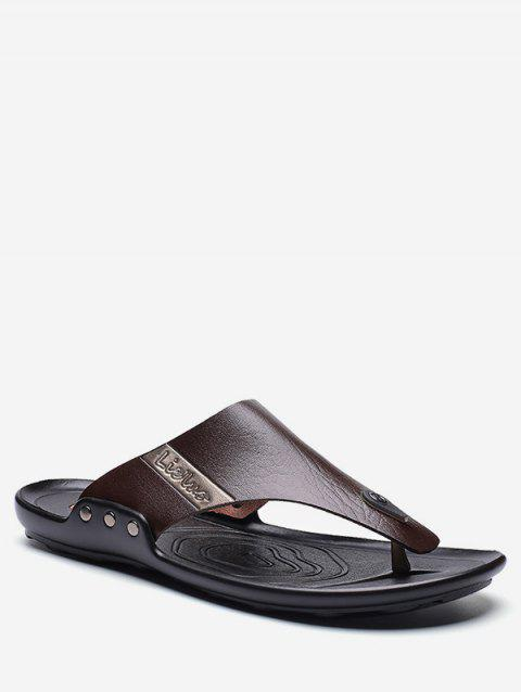 Casual PU Leather Flip Flops - DEEP COFFEE EU 43
