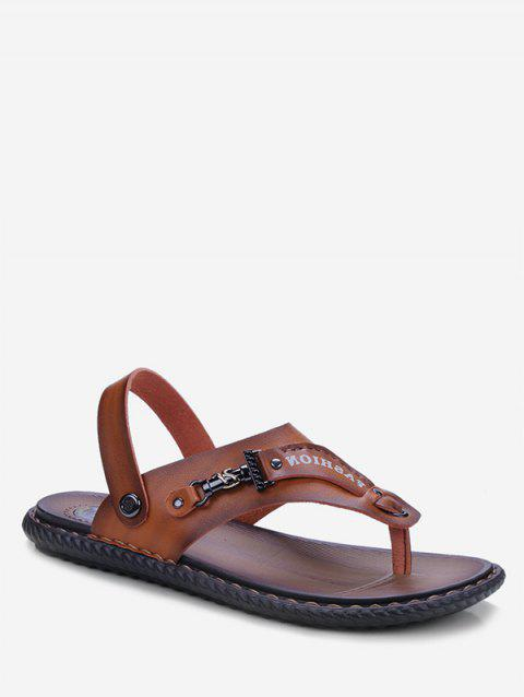 Letter Print Toe Clip Casual Sandals - LIGHT BROWN EU 44