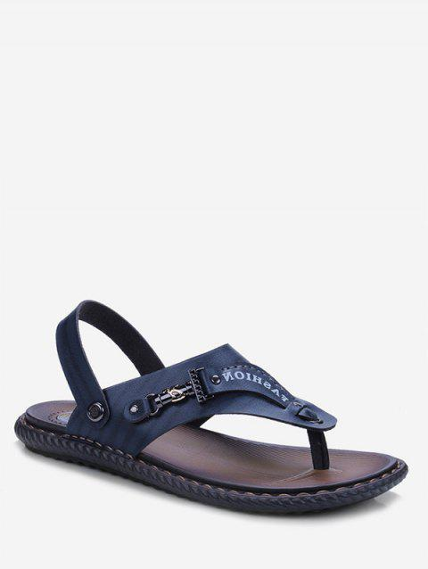 Letter Print Toe Clip Casual Sandals - DEEP BLUE EU 39
