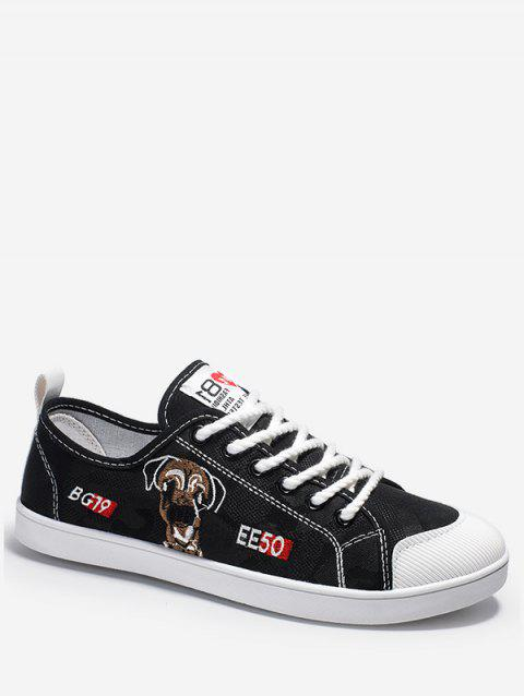 Dog Embroidered Casual Canvas Shoes - BLACK EU 40