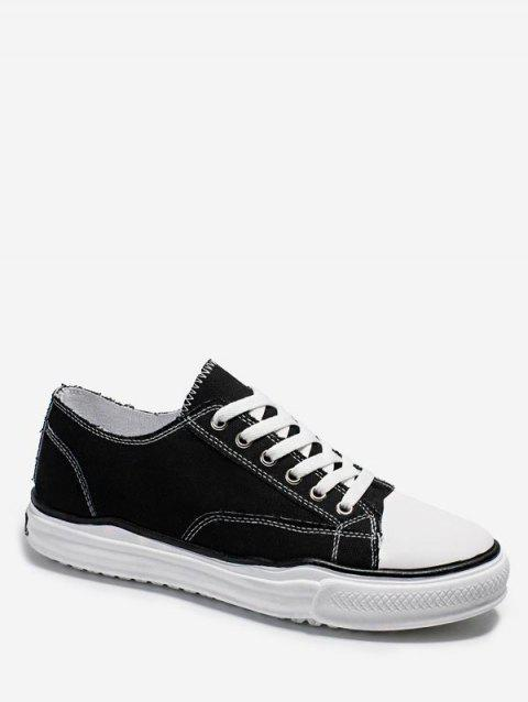 Casual Color Block Canvas Shoes - BLACK EU 40