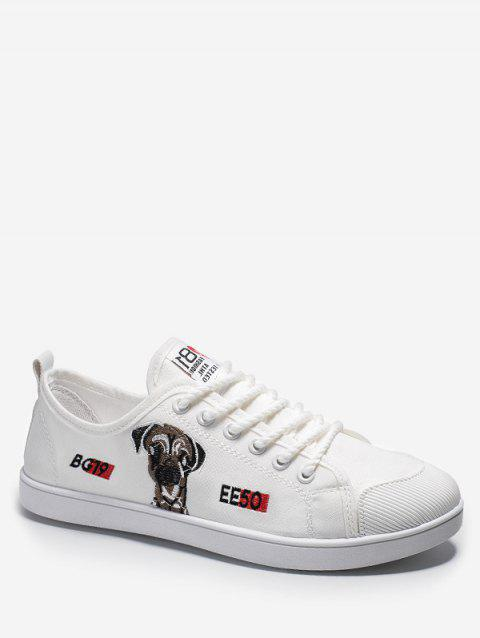 Dog Embroidered Casual Canvas Shoes - WHITE EU 43