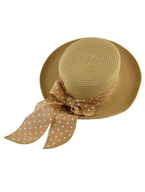Polka Dot Bow Boater Straw Hat - COFFEE