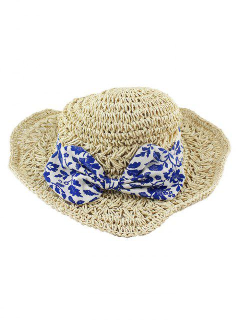 Chinese Style Bow Straw Sun Hat - BEIGE