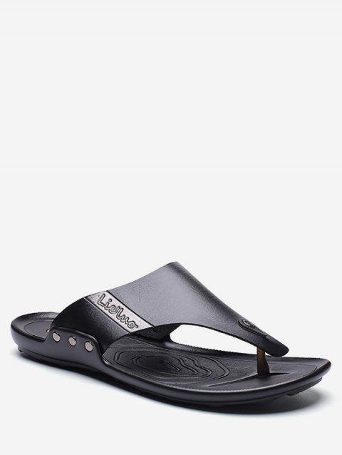 Casual PU Leather Flip Flops - BLACK EU 41