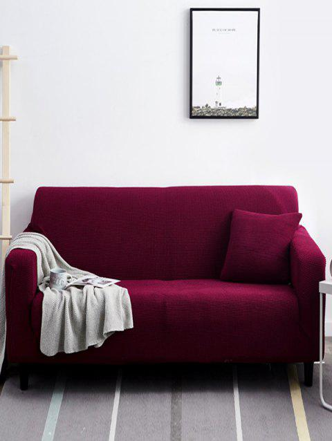 Durable Simple Solid Color Couch Cover - RED WINE TWO SEATS