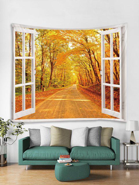 Window Maple Forest Print Tapestry Wall Hanging Art Decoration - SUN YELLOW W59 X L51 INCH