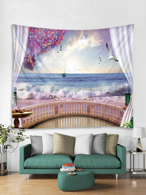 Hot Air Balloon Seagulls Print Art Decoration Wall Tapestry - DAY SKY BLUE W59 X L51 INCH