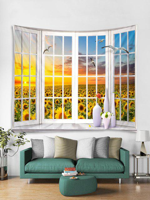Sunflower Seagulls Print Art Decoration Wall Tapestry - GOLDENROD W79 X L59 INCH