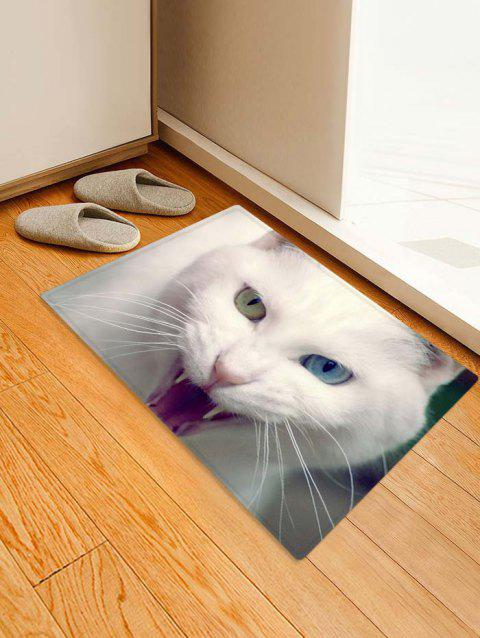 Cat Design Printed Floor Mat - CRYSTAL CREAM W16 X L24 INCH