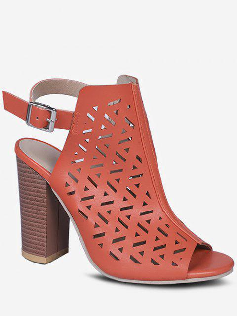 Hollow Out Geometric Chunky Heel Sandals - TIGER ORANGE EU 37