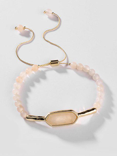Stone Beaded Adjustable Bracelet - CHAMPAGNE