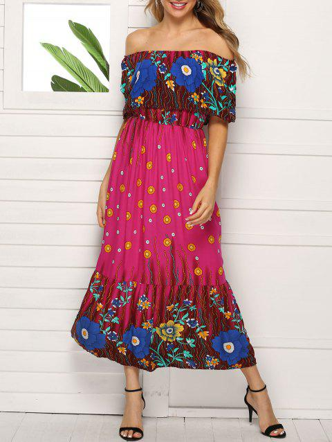 Bohemian Off Shoulder Flounce Maxi Dress - multicolor B XL