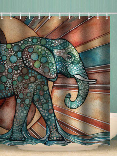 Abstract Elephant Pattern Waterproof Shower Curtain - multicolor W71 X L79 INCH