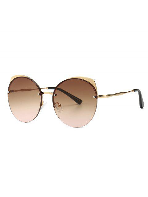 Semi-rimless Round Catty Eye Sunglasses - BROWN