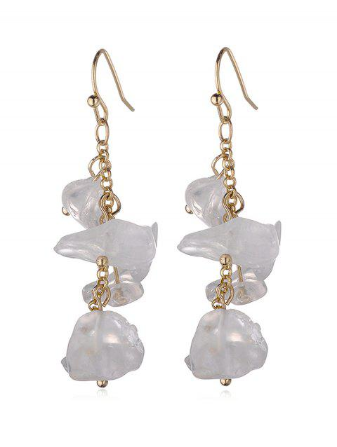 Natural Stone Irregular Tassel Earrings - CRYSTAL CREAM
