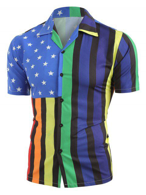 Star Striped Pattern Short Sleeves Shirt - multicolor A 2XL