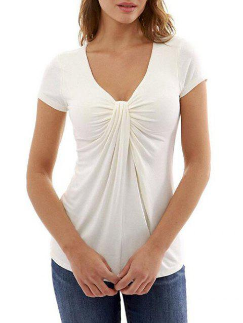 Plunging Twisted Short Sleeve T-shirt - WHITE L