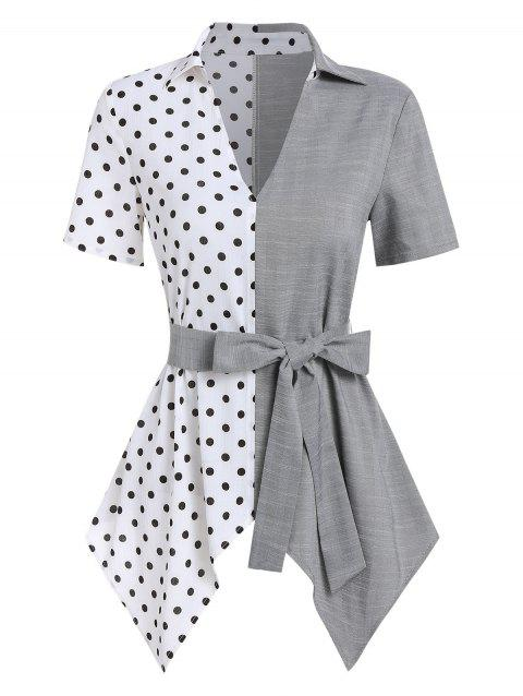 Polka Dot Asymmetric Belted Tunic Blouse - LIGHT GRAY 2XL