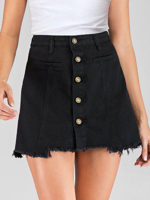 Button Fly Frayed Mini Skirt - BLACK XL