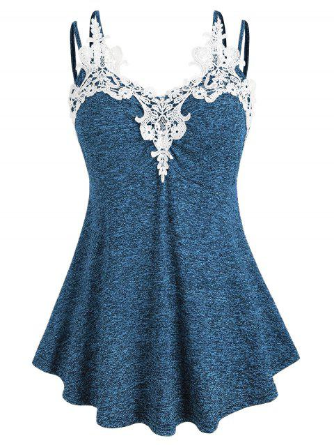 Plus Size Marled Lace Insert Tank Top - OCEAN BLUE 1X