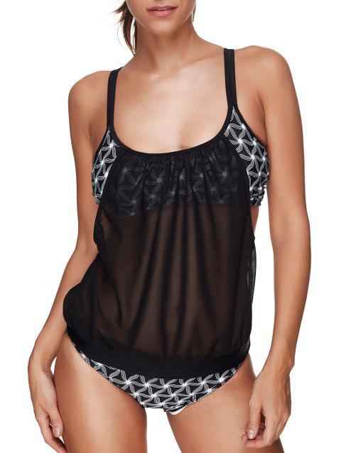 Mesh Panel Sheer Blouson Tankini Set - BLACK S