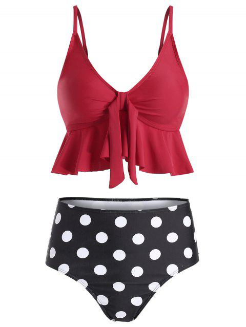 Ruffle Polka Dot High Waisted Tankini Set - RED WINE L