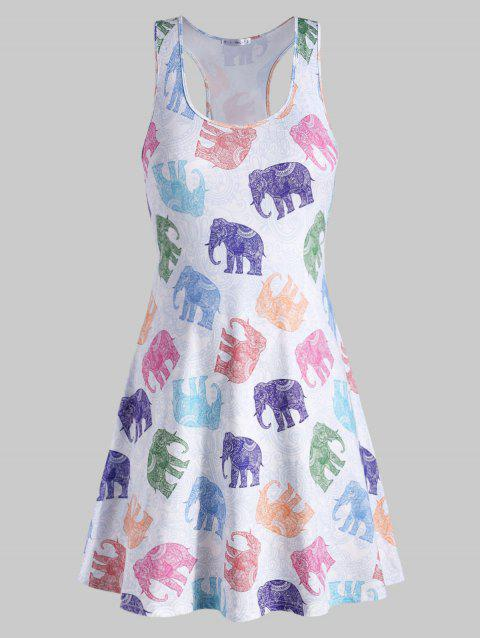 Elephant Print Plus Size Racerback Dress - WHITE L