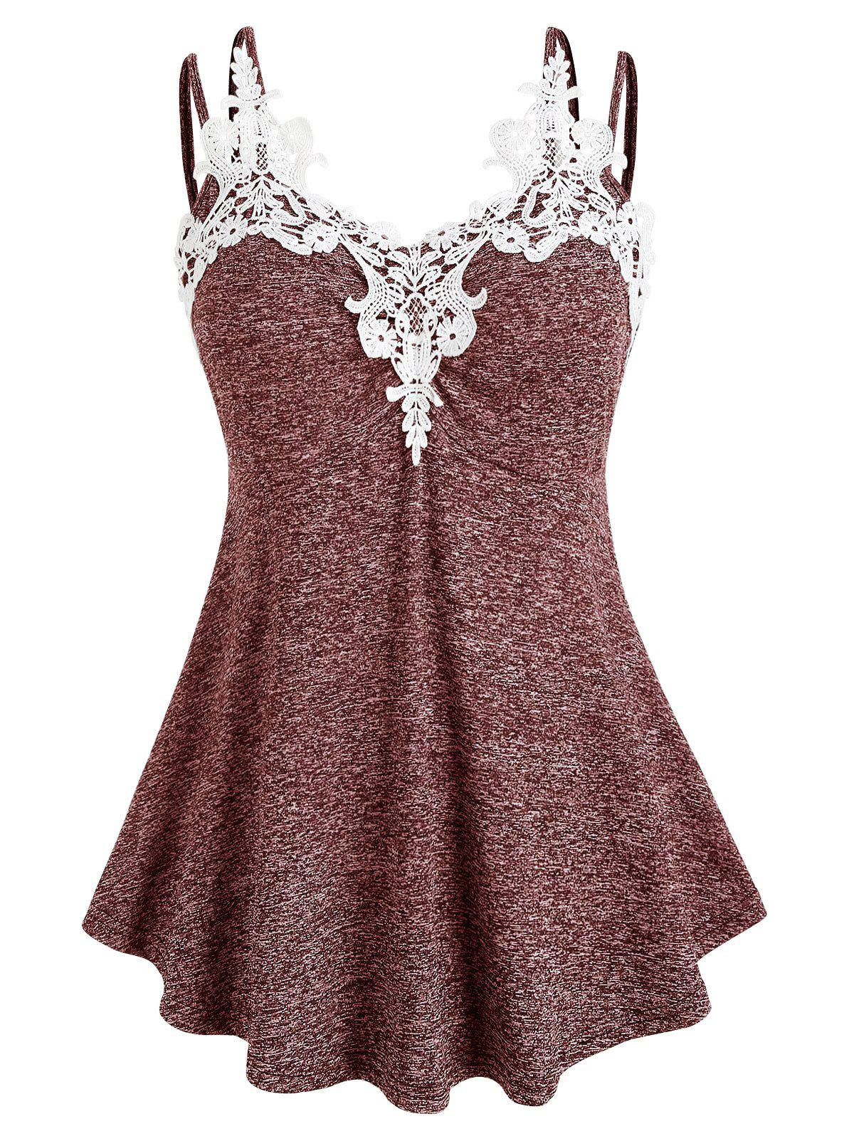 Plus Size Marled Lace Insert Tank Top - RED WINE 2X