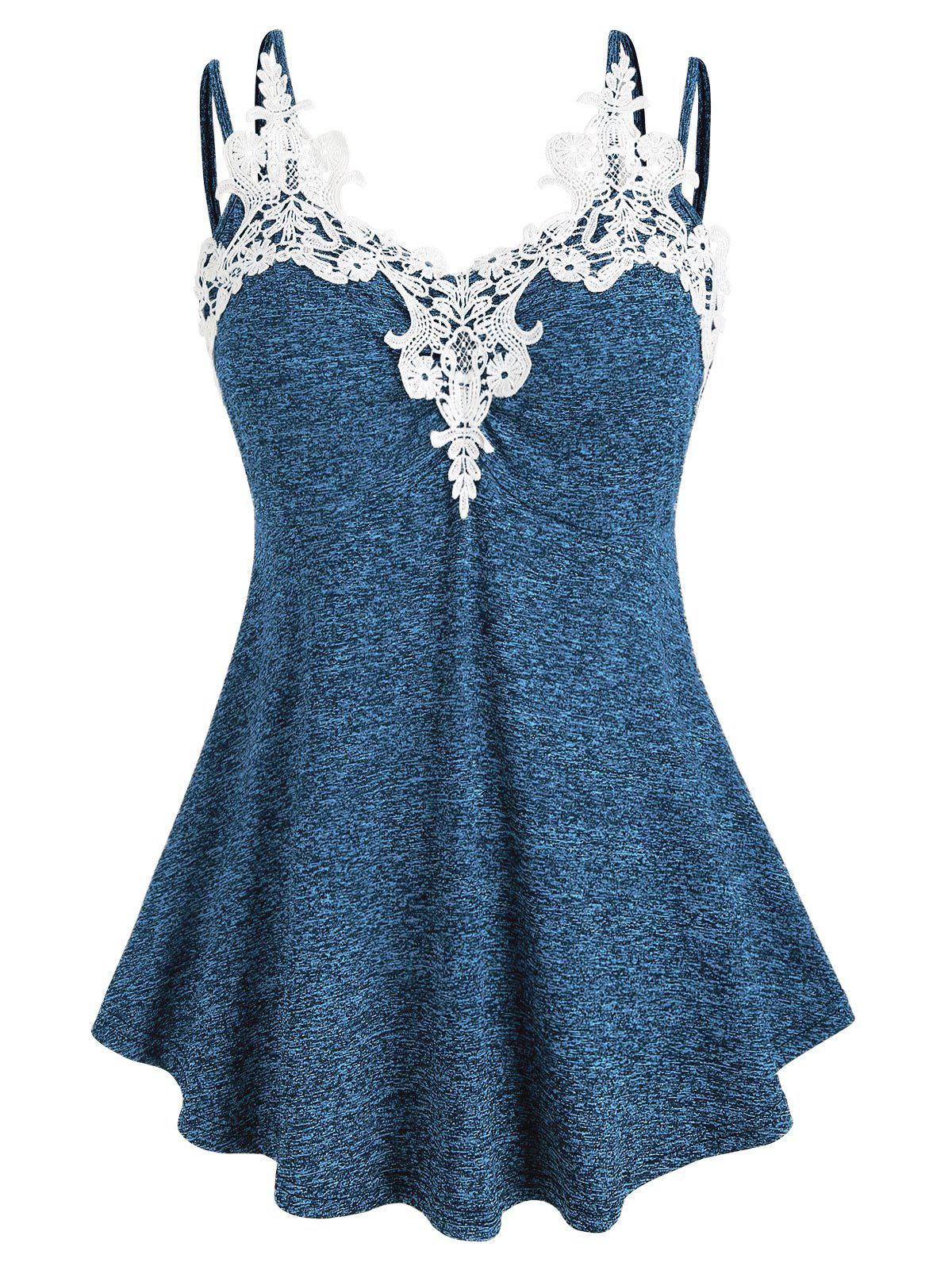 Plus Size Marled Lace Insert Tank Top - OCEAN BLUE L