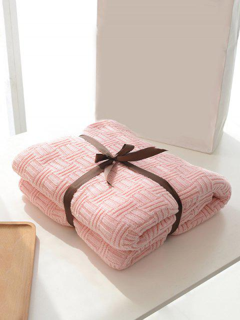 Solid Color Decoration Knitted Blanket - PINK 180*200