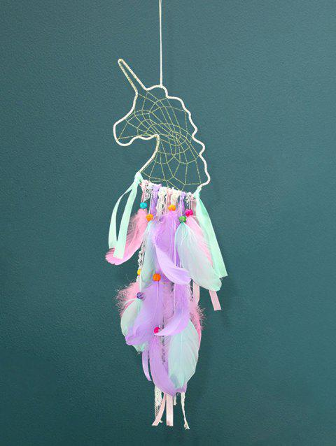Unicorn Theme Colorful Feathers Handmade Dream Catcher - multicolor A