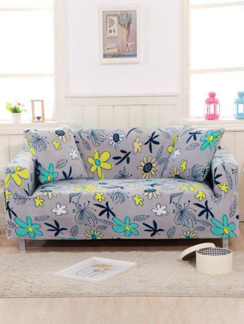 Flowers Print Couch Cover - BLUE GRAY TWO SEATS