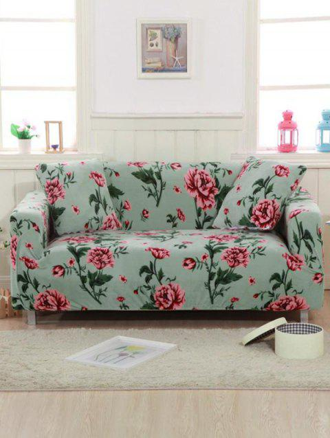 Peony Print Couch Cover - LIGHT CYAN TWO SEATS
