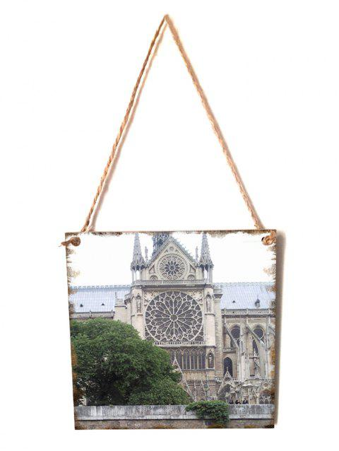 Notre Dame Pattern Wooden Hanging Sign - GRAY CLOUD